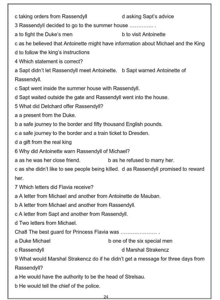 مراجعة نهائية إنجليزي 3 ثانوي  Prezoner of Zenda  + الاجابة.. توقعات الدستور واليوم السابع 24