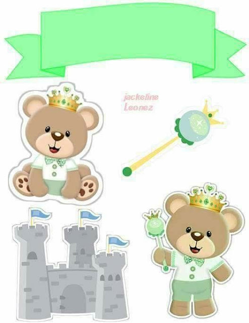Baby Bear Prince in Green: Free Printable Cake Toppers.