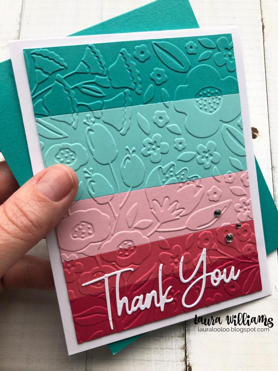 Make an embossed thank you card with scrap paper strips in a rainbow of colors. This simple handmade cardmaking idea is a fun way to get new life from your embossing folders.