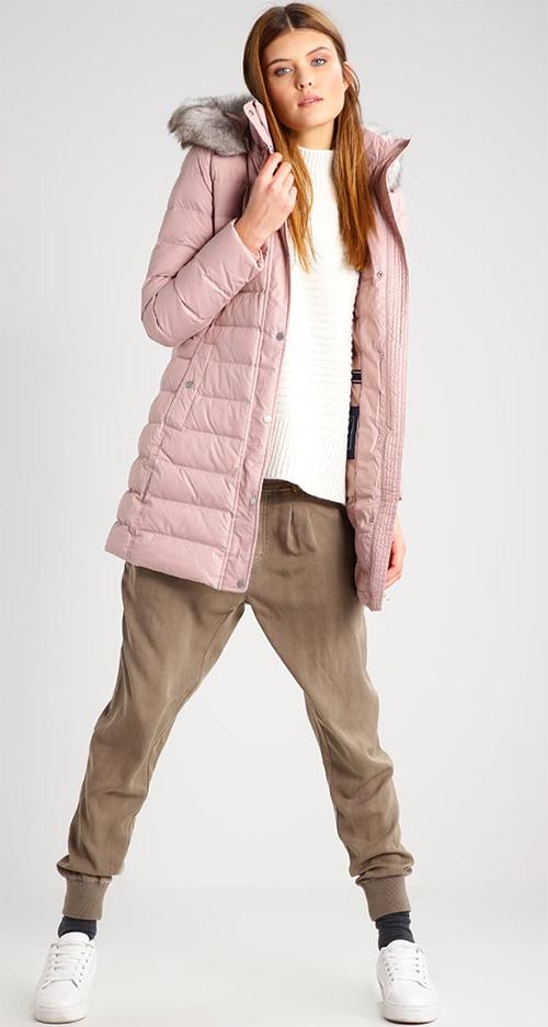 Doudoune longue femme duvet et plumes avec capuche rose Tommy Hilfiger