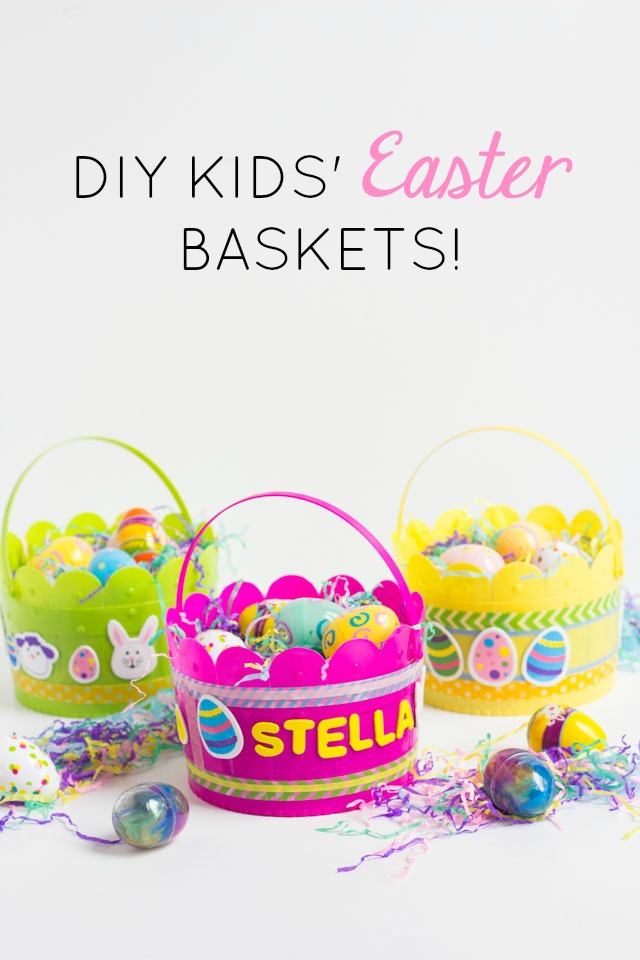 Let the kids decorate their own Easter baskets this year. Such a fun Easter kids craft!