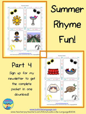 A fun, free rhyming game! Great pre-reading practice!