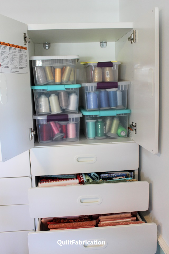 thread storage in Ikea Stuva cabinet