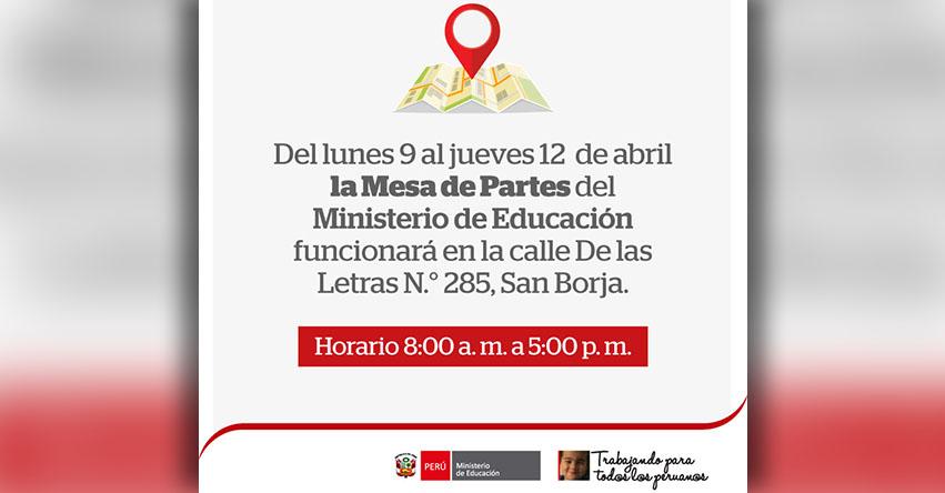 COMUNICADO MINEDU: Atención Mesa de Partes en nueva dirección por «VIII Cumbre de las Américas» - www.minedu.gob.pe