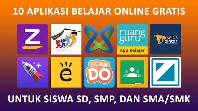 10 Aplikasi Belajar Online Gratis Untuk Siswa SD, SMP, & SMA/SMK