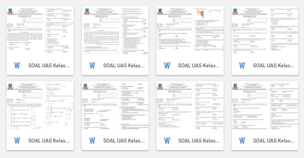 Soal Latihan UAS SD Kelas 1 2 3 4 5 6 Semua Mata Pelajaran