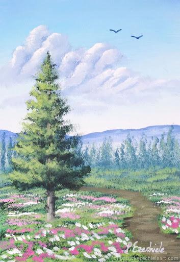 Paesaggio di montagna con albero e fiori