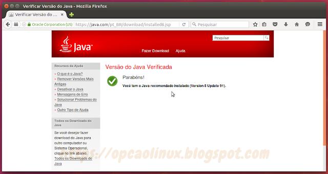 Oracle Java instalado com sucesso!