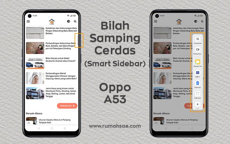 Cara Menampilkan dan Menyembunyikan Tombol/Bilah Samping Cerdas (Smart Sidebar) di Layar Oppo A53
