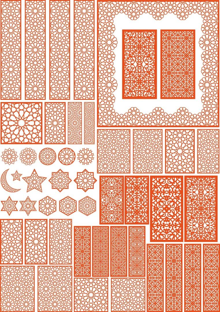 مجموعة تصاميم اسلامية متنوعة من تفريغات واشكال بصيغة cdr