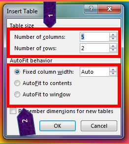 insert table dialog box in MS Word 2013