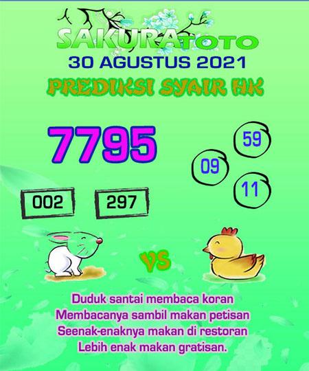 Syair HK Senin 30 Agustus 2021 -