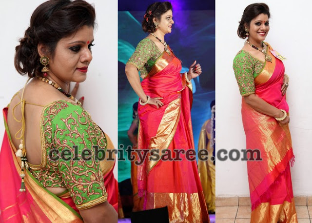 Red Silk Saree Green Elbow Blouse