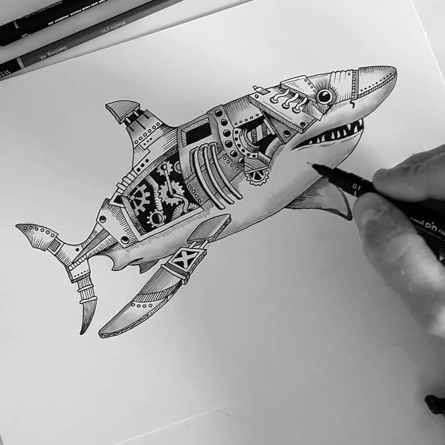 02-Great-white-shark-Steampunk-Steve-Turner-www-designstack-co