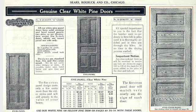 white pine interior doors shown in Sears Building Supplies catalog 1918