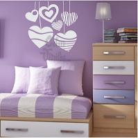 vinilo decorativo pared habitacion, infantil, dormitorio, corazones