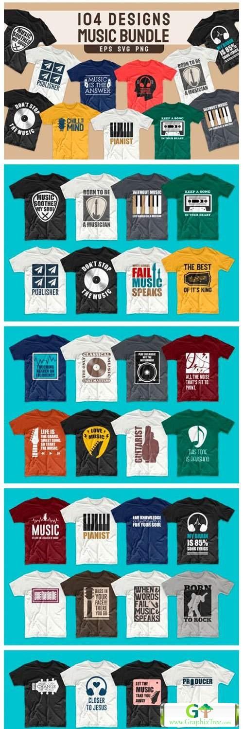 T-shirt Designs Bundle Music Slogans [Vector] [3D And Element Object & Web]
