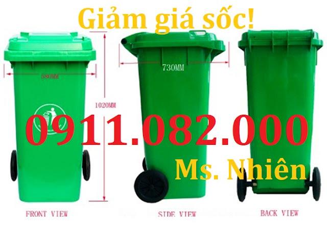 091108200- Bán thùng rác 240 lít giá rẻ- thùng rác màu xanh cam vàng
