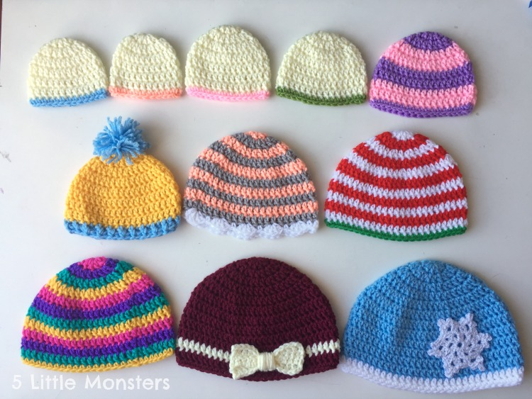 5 Little Monsters Basic Double Crochet Hats Preemie Adult