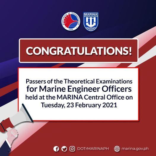 MARINA List of Licensure Exam Passers