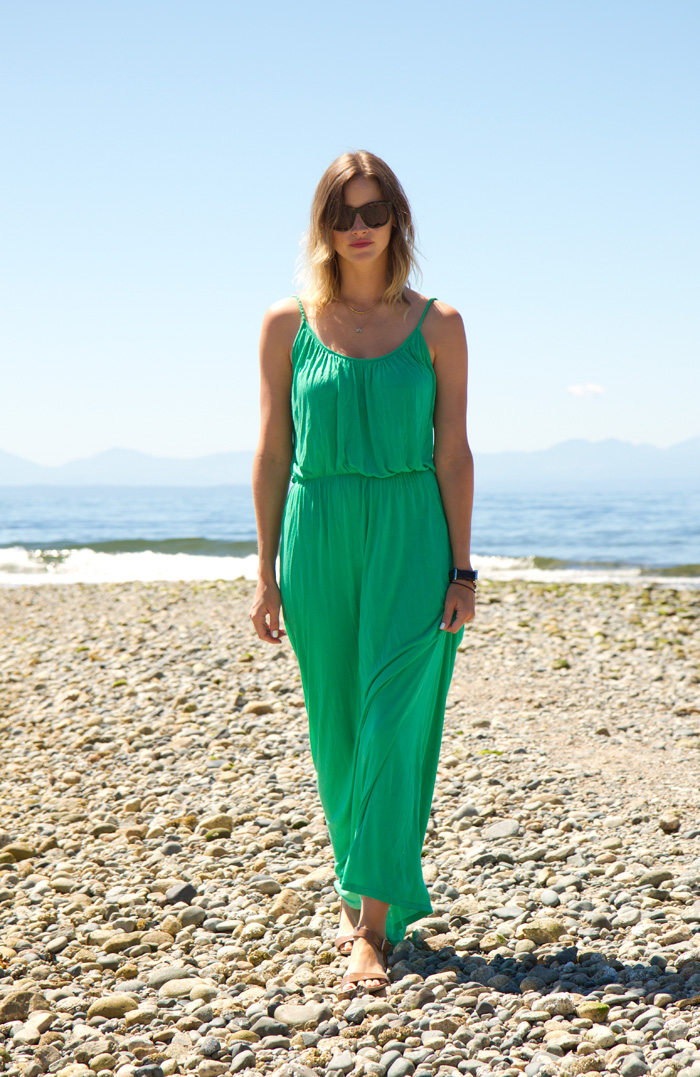 Vancouver Fashion Blogger, Alison Hutchinson, wearing a green River Island maxi dress, nude Zara sandals, Sass & Bide sunglasses at the beach in Robert's Creek, BC.