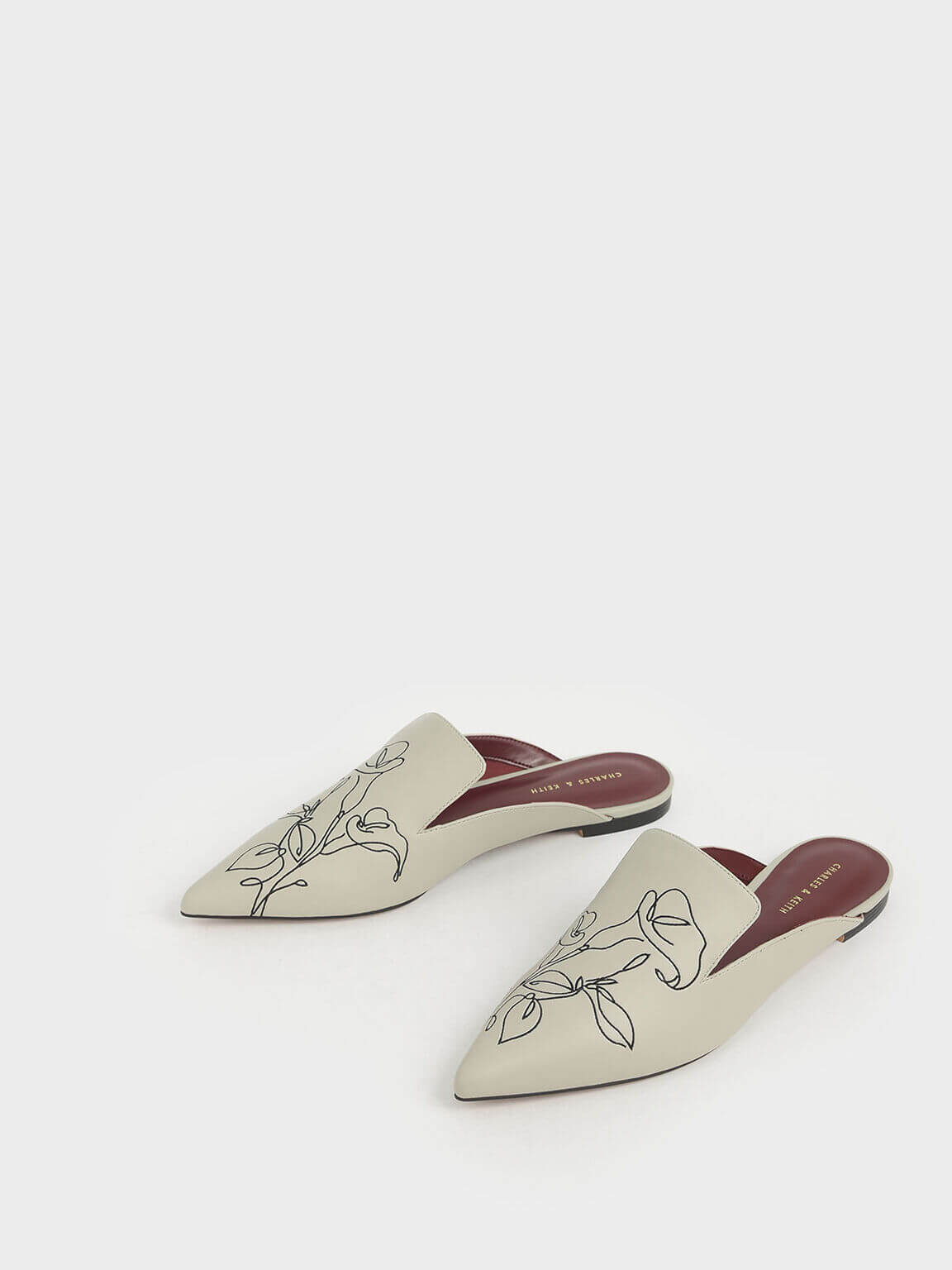 floral embroidered pointed toe mules