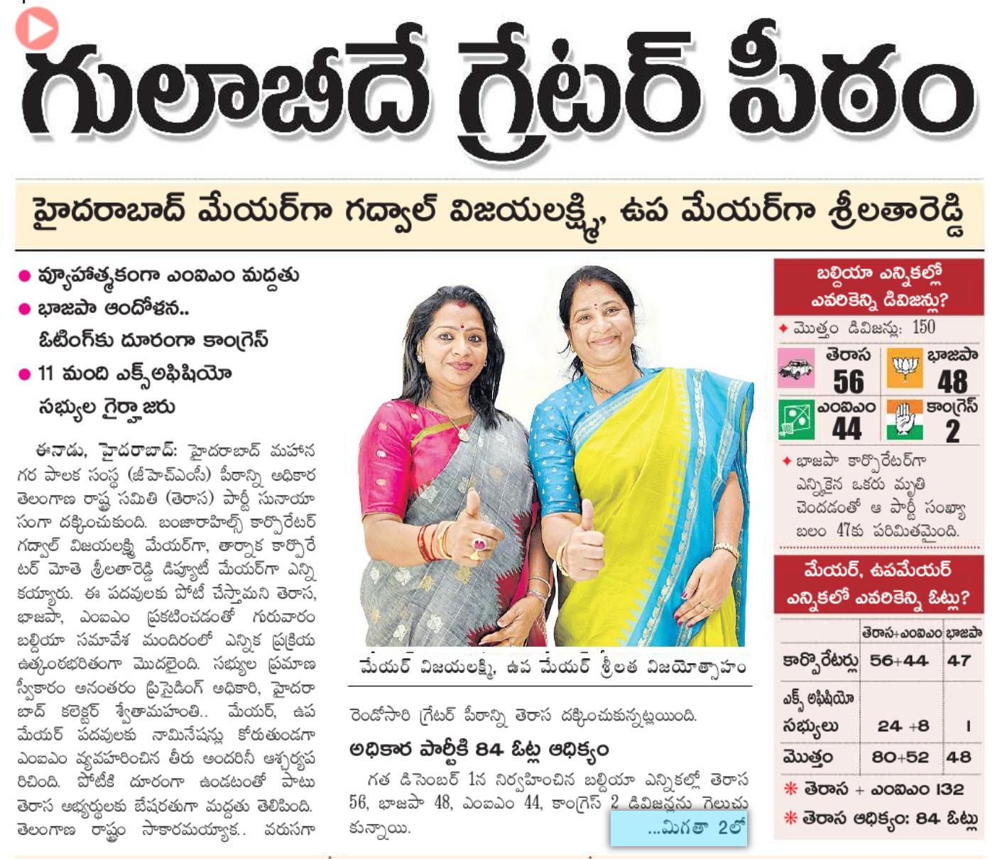 Feb-11-2021: Gadwal Vijaya Laxmi Elected as GHMC Mayor