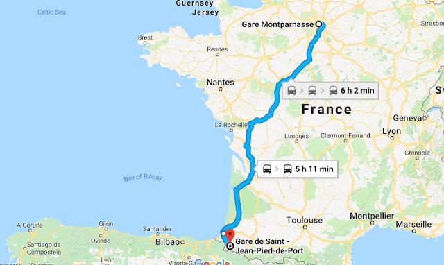 Mapa viagem de trem de Paris a Saint Jean Pied De Port
