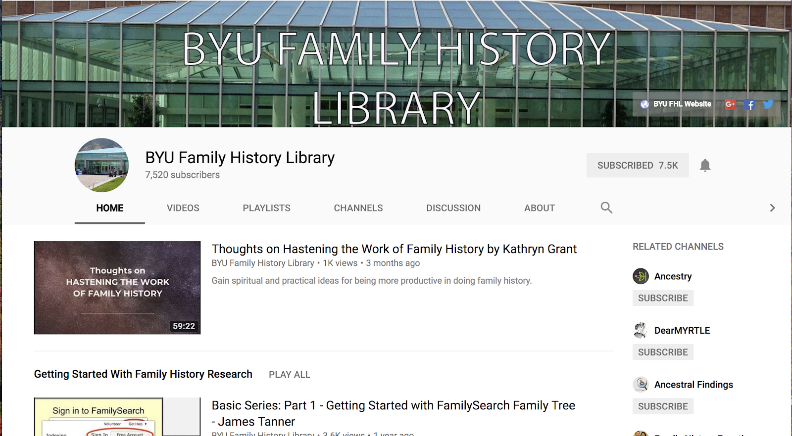 Genealogy's Star: BYU Family History Library YouTube Channel