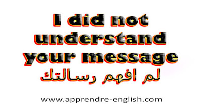 I did not understand your message    لم افهم رسالتك
