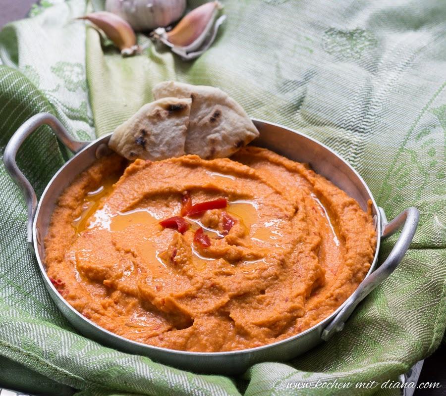 Humus mit gegrillte Paprika