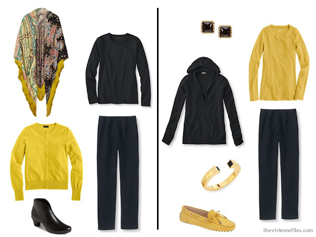Wearing black and mustard together - two ideas