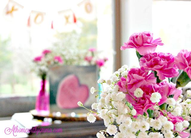 decorating, Valentine, decor, homemaking, simple, pink, flowers, athomewithjemma.com