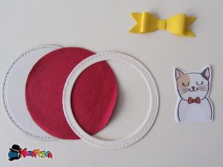 pezzi necessari per la decorazione tag con gattino