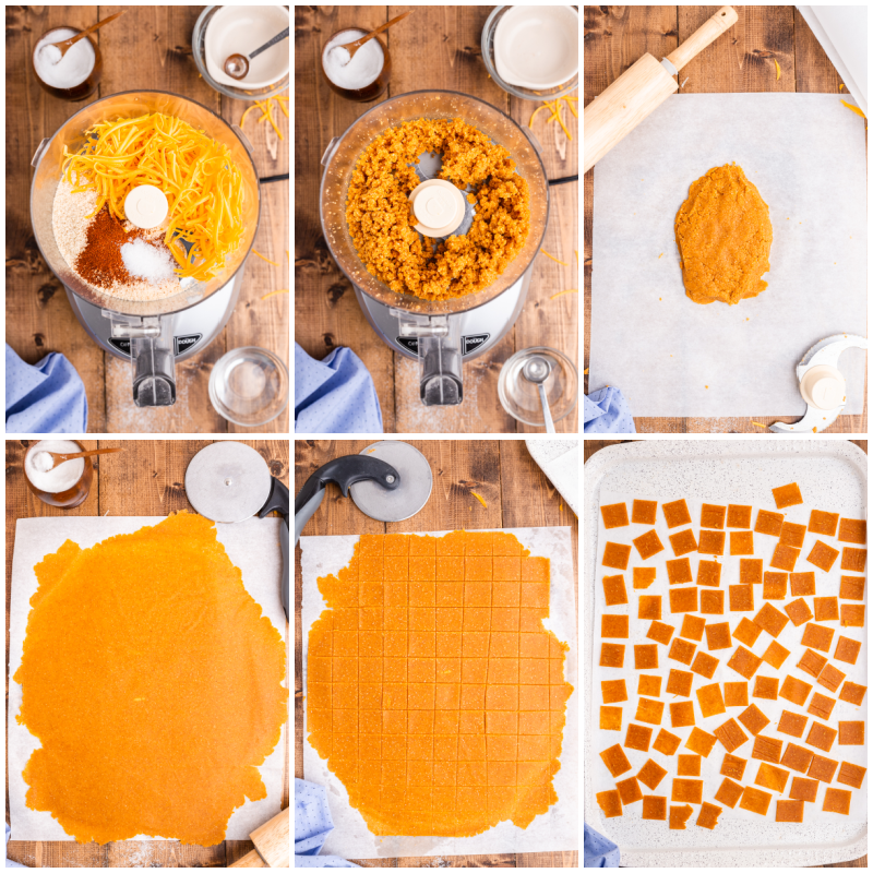 Collage of six photos of the process of making Keto Smoked Cheddar Crackers (Cheezits).