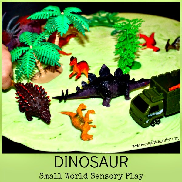 Dinosaur small world sensory play ideas for kids. Simple activities for toddlers and preschooler.Make a dinosaur swamp  using a gloop (goop, oobleck) recipe.