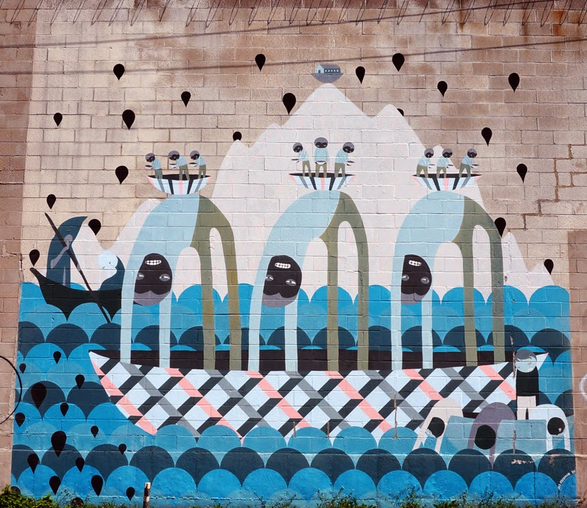 Mural featuring patterns of boats people and water