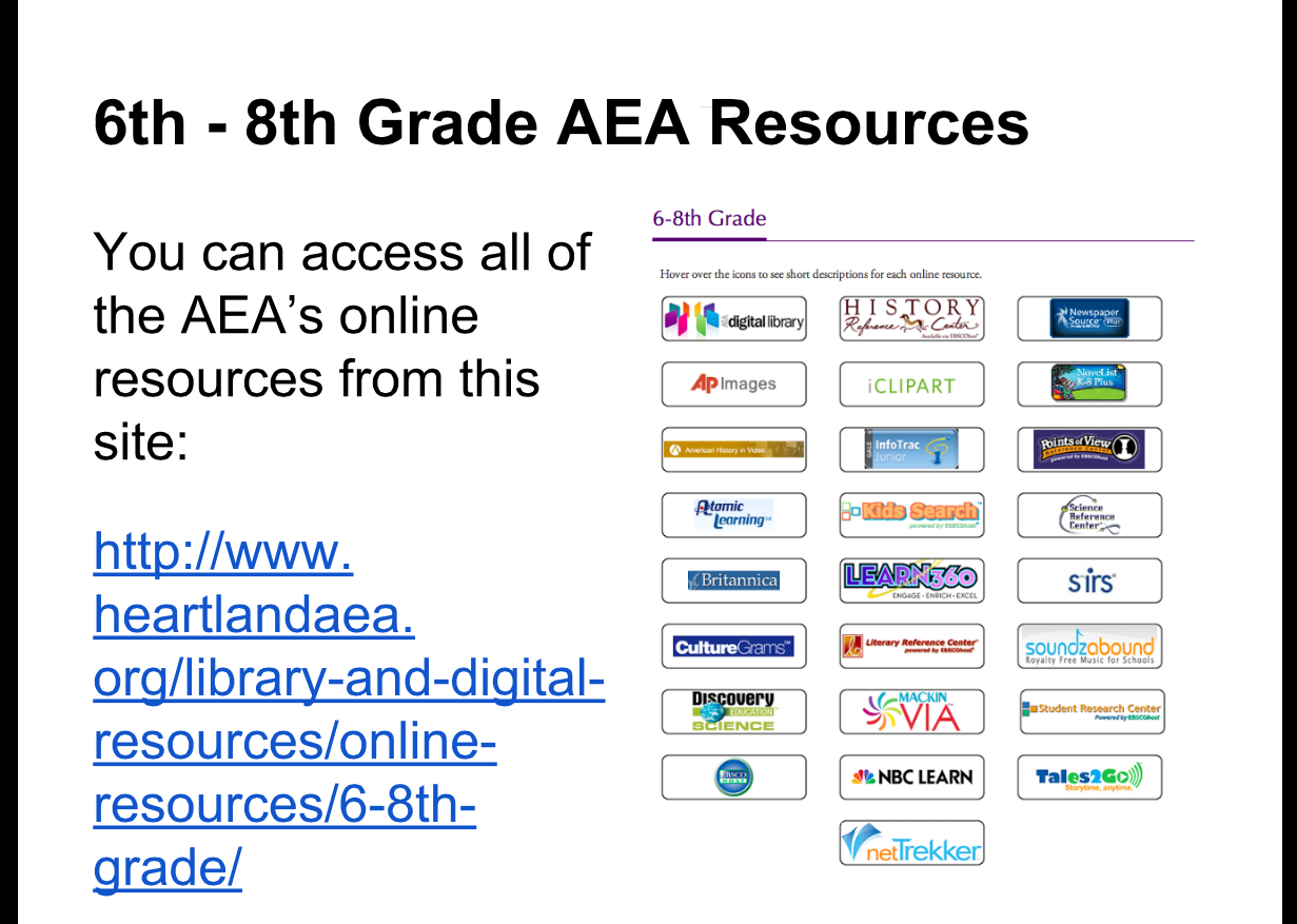 DCG Middle School Library: Using the AEA's Online Databases