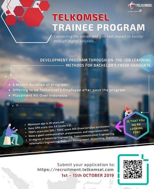 Lowongan Kerja Telkomsel - Telkomsel Trainee Program (Deadline : 15 Oktober 2019)