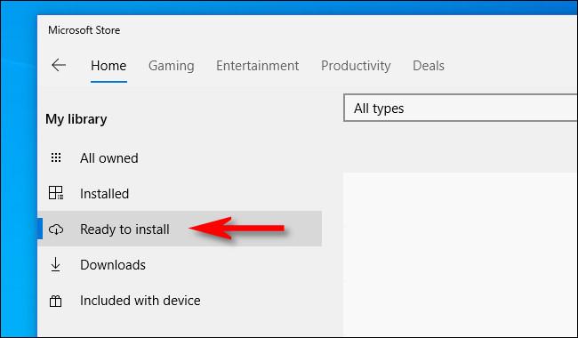 """في متجر Microsoft ، انقر فوق """"جاهز للتثبيت"""" من قائمة الشريط الجانبي."""