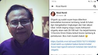 Rizal Ramli: UU Cipta Kerja Akan Membuat Kekayaan Oligarki Naik 100 Kali Lipat!