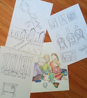 Aija Saukkosen kuvituksia Liisa Lauerman kirjaan Elina ja mummin kierrätyspäivä - Tilkkutarinoita
