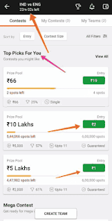Dream11 1, 2 rupees entry fees contest