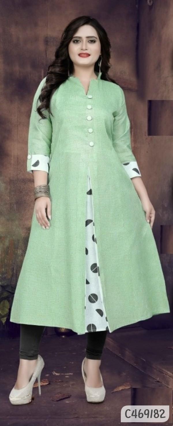 New Khadi Cotton Digital Printed 3/4th Sleeves Curved Kurtis