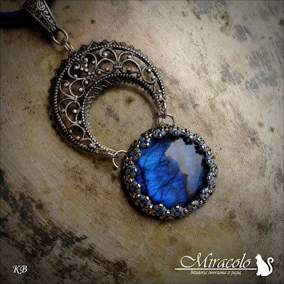 Miracolo, wisiorek z niebieskim labradorytem, labradorite pendant, blue labradorite, filigran