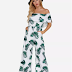 Random Floral Print Off Shoulder Tiered Jumpsuit