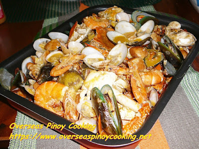 Pinoy Garlic Buttered Mix Seafood Dish
