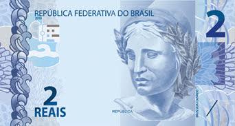 A foto mostra a cédula de dois Reais do dinheiro do Brasil (R$ 2.00) que está corroído pela inflação e a desvalorização do dólar americano.