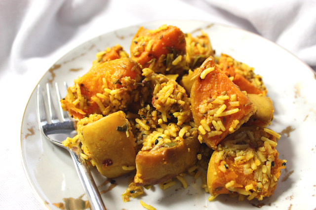 Roasted Sqaush with Rice and Lime Pickle