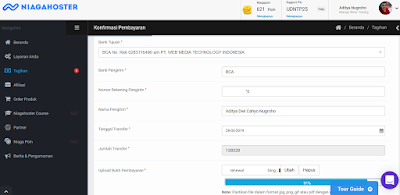 Halaman konfirmasi pembayaran member hosting di Niagahoster